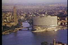 Stock Video Footage of Overview of Cairo, still, medium close up of Meridian Hotel