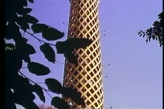 Cairo Tower, medium close up top, tilt up, framed in trees Stock Footage
