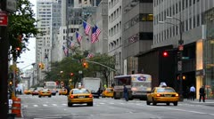 New York City, Manhattan, Fifth Avenue at Rush Hour - stock footage