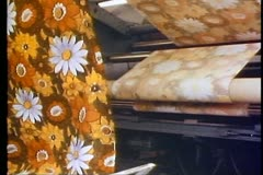 Cotton factory, printed cloth coming out of drying machine in waves, medium Stock Footage