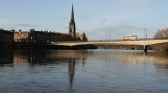 Perth waterfront and River Tay Scotland Stock Footage