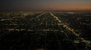 Aerial view of night traffic in suburbs, Los Angeles, USA Stock Footage