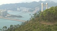 Stock Video Footage of Suspension Bridge Over Hong Kong Waters