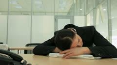 Sleeping businesswoman Stock Footage