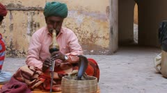 Snake Charmer in Jaipur, India Stock Footage