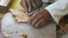Hands of an Indian Cobbler Stock Footage
