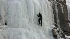 Mountain climb ice waterfall P HD 8907 Stock Footage