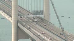 Traffic On Suspension Bridge Stock Footage