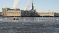 Factory on Water with Birds Flying By - stock footage