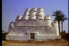 Fayoum Oasis,  white mud brick pigeon house, medium shot front - stock footage