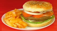 Hamburger With Poured Ketchup (HD) Stock Footage