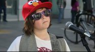Editorial - Young guitar player playing rock music at Downtown Santa Monica Stock Footage