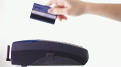 Credit Card Reader against the White Background Stock Footage