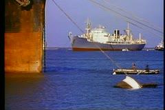 Suez Canal entrance, ships on anchor, medium shot Stock Footage