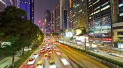 21 Car traffic on the road between  skyscrapers - stock footage