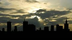 Poland Warsaw skyline sunbeams Stock Footage