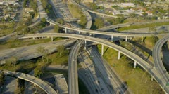Aerial elevated road system suburbs, USA Stock Footage