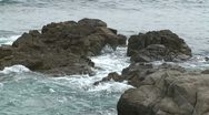 Stock Video Footage of CA Montery Waves on Rocks 1