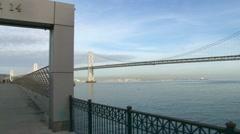 Pier 14 and Bay Bridge Panning Shot Stock Footage