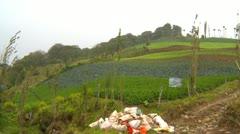 Cerro Punta farm and village, pan Stock Footage