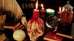 Human Skull Candle Studio (HD) Stock Footage