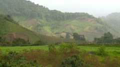 Agriculture, farm fields hilly and valley floor, Panama Highlands Stock Footage