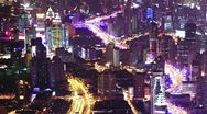 Stock Video Footage of shanghai city traffic at night. time lapse