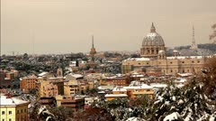 Rome under the snow - St. Peter Stock Footage