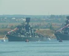 Day of Russian Navy. Warships in Sevastopol Bay. #75 Stock Footage