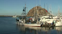 CA Morro Bay Z-In to Salmon Boat moving through boats tied Stock Footage