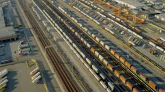 Aerial view of rail freight container terminal, USA Stock Footage
