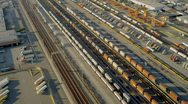 Stock Video Footage of Aerial view of rail freight container terminal, USA