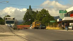 Traffic and shops, Volcan, Panama Stock Footage