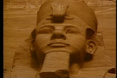 Abu Simbel, one figure, still, close up of face Stock Footage