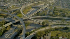 Aerial view of elevated road transportation system, USA Stock Footage