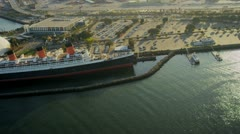 Aerial view of the Queen Mary, USA - stock footage