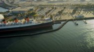 Stock Video Footage of  Aerial view of the Queen Mary, USA