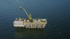 Aerial view of deep ocean oil platform, USA Stock Footage