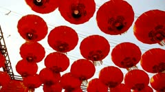 Red lanterns tassel swaying in wind,elements of East,china new year. - stock footage