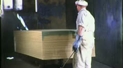 Worker Spray Paints Plywood Factory 1940s Vintage Industrial Movie Film 1709 Stock Footage