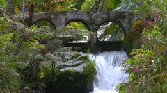 Rain forest stream with concrete bridge, Panama highlands Stock Footage
