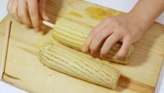 Preparing Mexican Corn Part One (HD) Stock Footage