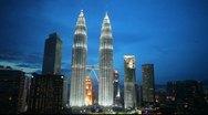 Petronas Towers and skyline of Kuala Lumpur, Malaysia Stock Footage