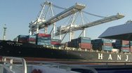 Stock Video Footage of Cargo Ship Loaded with Stack Cars Oakland CA