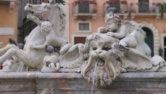 Piazza Navona Rome Triton Fountain (HD) Stock Footage