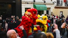 Lion Dancers in China Town, London Stock Footage
