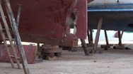 Stock Video Footage of Boats on chocks at dry dock 2