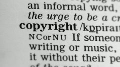Dictionary Definition - Copyright - stock footage