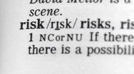 Stock Video Footage of Dictionary Definition - Risk