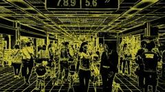 Talk in airport hall, matrix effect Stock Footage